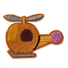 GOLDEN HELICOPTER MOTIF IRON ON EMBROIDERED PATCH APPLIQUE